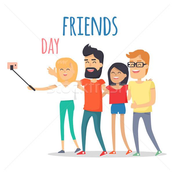 Barátok ünnepel barátság nap vektor férfiak Stock fotó © robuart