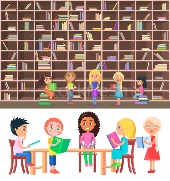 Kids Sitting at Table in Library with Big Bookcase Stock photo © robuart