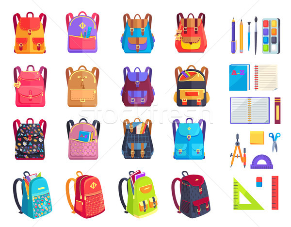 Colorful Modern Rucksacks and School Supplies Set Stock photo © robuart