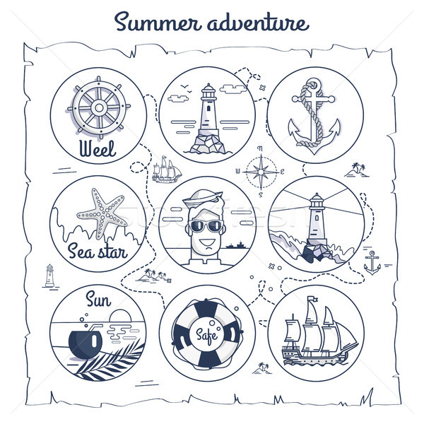 Summer Adventure Map Depicting Multiple Icons Stock photo © robuart