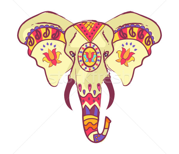Indian elefante testa luminoso etnica ornamenti Foto d'archivio © robuart