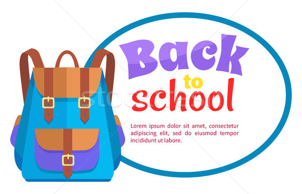 Back to School Poster with Rucksack Unisex Vector Stock photo © robuart