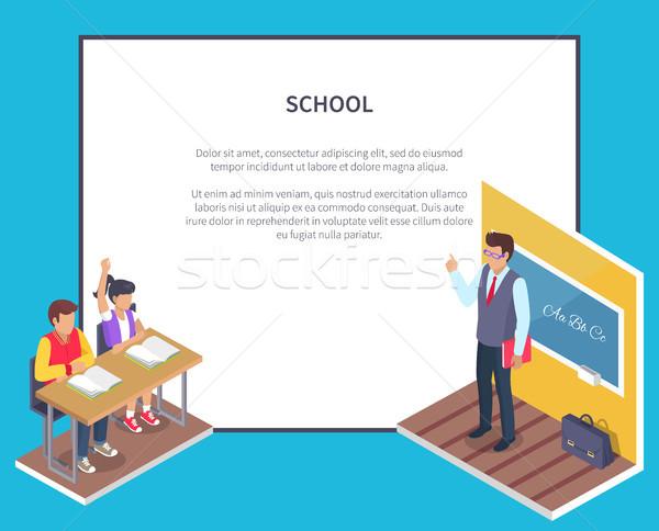 Stock foto: Zwei · Studenten · Junge · Mädchen · sitzen · Schreibtisch