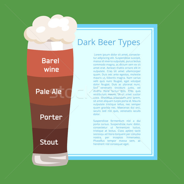 Dark Beer Types Poster Depicting Pilsner Glass Stock photo © robuart