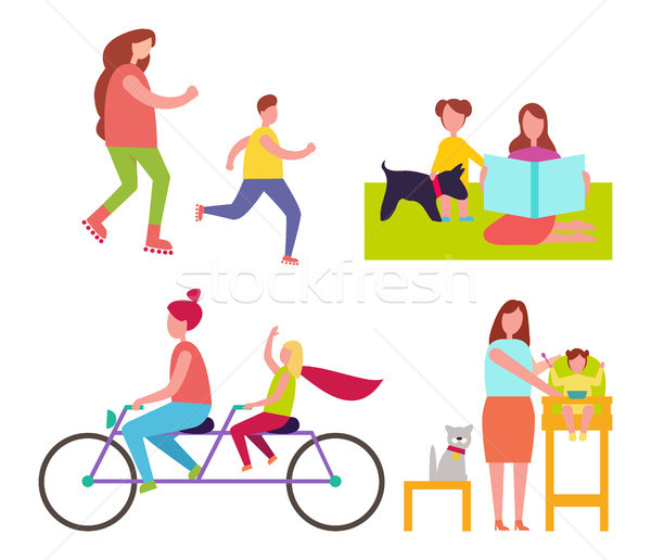 Mothers and Children Collection of Illustrations Stock photo © robuart