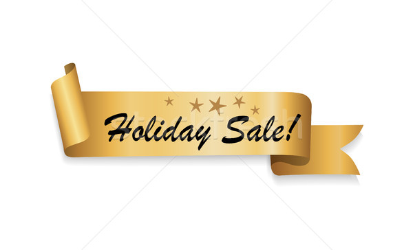 Five Star Holiday Sale Text on Gold Ribbon Vector Stock photo © robuart