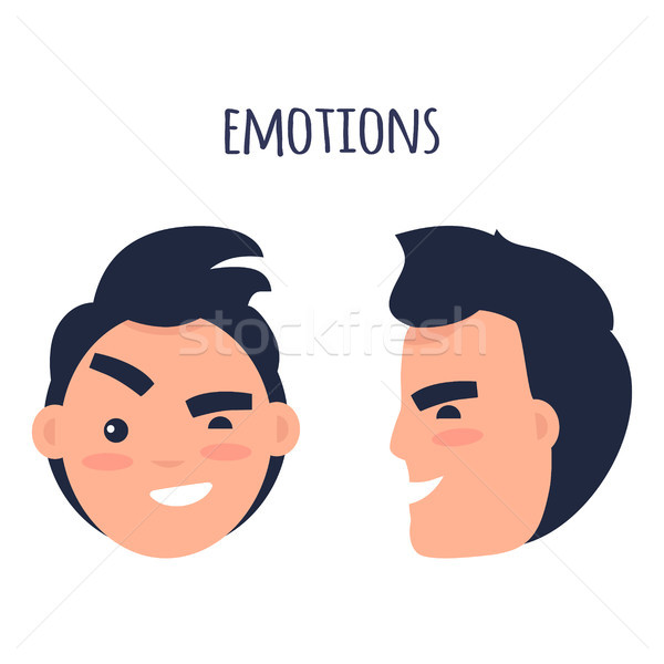 Man Skeptic Emotions Flat Vector Concept Stock photo © robuart
