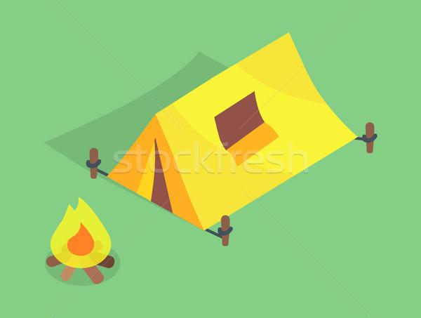 Kempingezés sátor ablak tető máglya vektor Stock fotó © robuart
