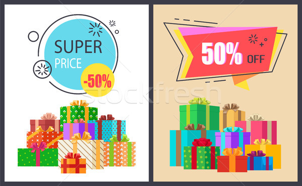 Super Price Fifty Percent Off Promo Poster Package Stock photo © robuart