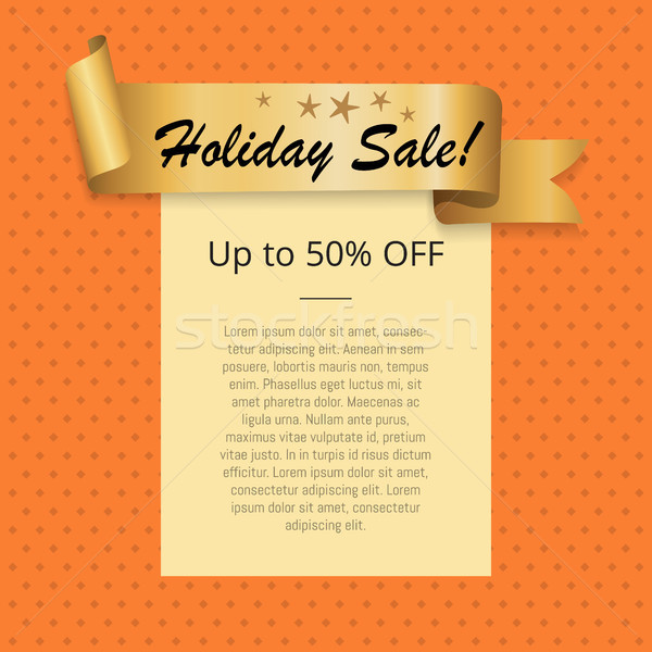 Holiday Sale Up to 50 Off Poster with Gold Ribbon Stock photo © robuart