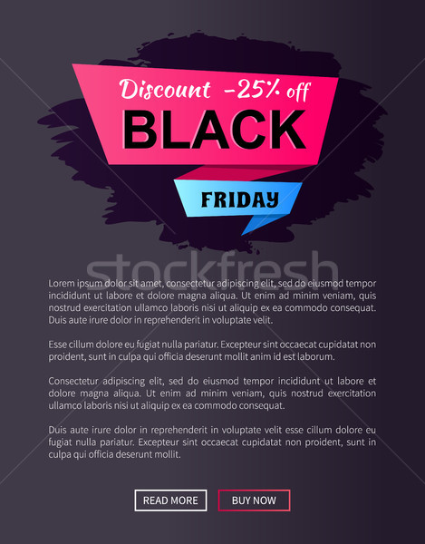 Discount -25 Off Black Friday Ad Label on Ribbon Stock photo © robuart