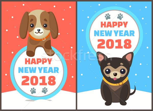 Happy New Year 2018 Dogs Set Vector Illustration Stock photo © robuart