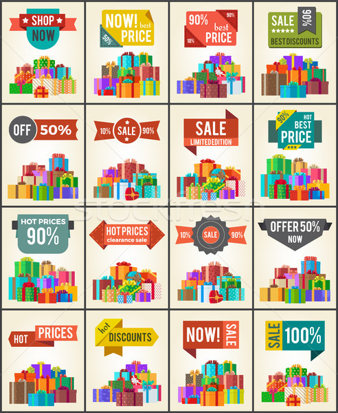 Big Collection of Best Prices Promo Posters Boxes Stock photo © robuart