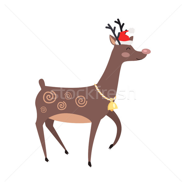 Big Reindeer with Golden Bell and Red Hat on White Stock photo © robuart
