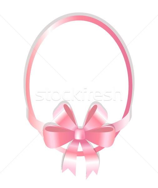 オーバル フレーム 装飾された ピンク 弓 孤立した ストックフォト © robuart