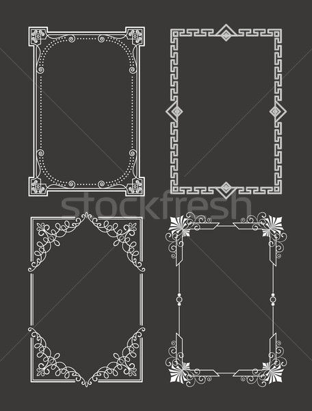 Chalk Style Set Vintage Frames Decorative Border Stock photo © robuart