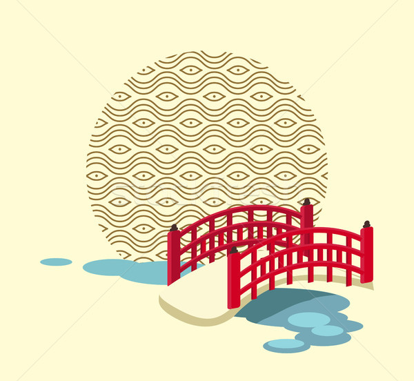 Japanese Bridge over River and Circle with Pattern Stock photo © robuart