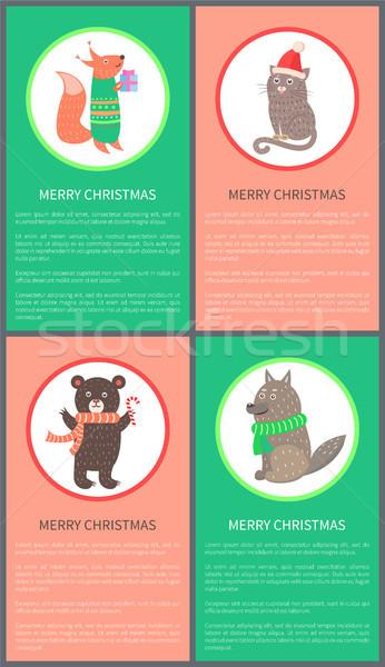 Neşeli Noel renkli kartpostal hayvanlar kutlama Stok fotoğraf © robuart