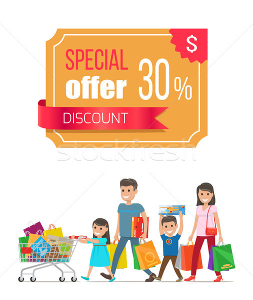 Special Offer Discount Promo Poster with People Stock photo © robuart