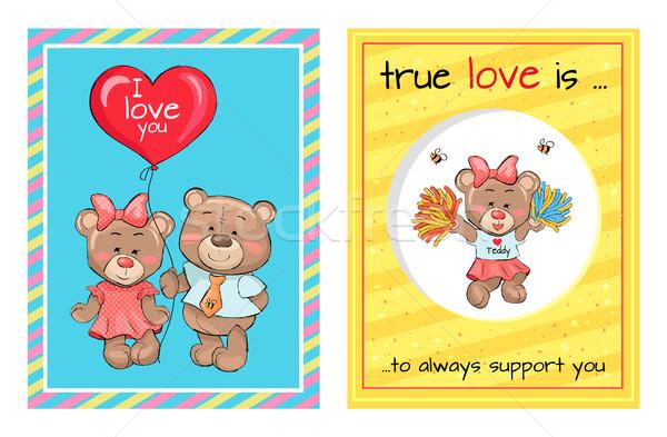 True Love is Support Teddy Girl Bears Air Balloon Stock photo © robuart
