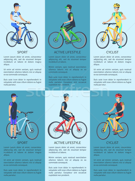 Sport, Cyclist and Active Lifestyle Set of Posters Stock photo © robuart