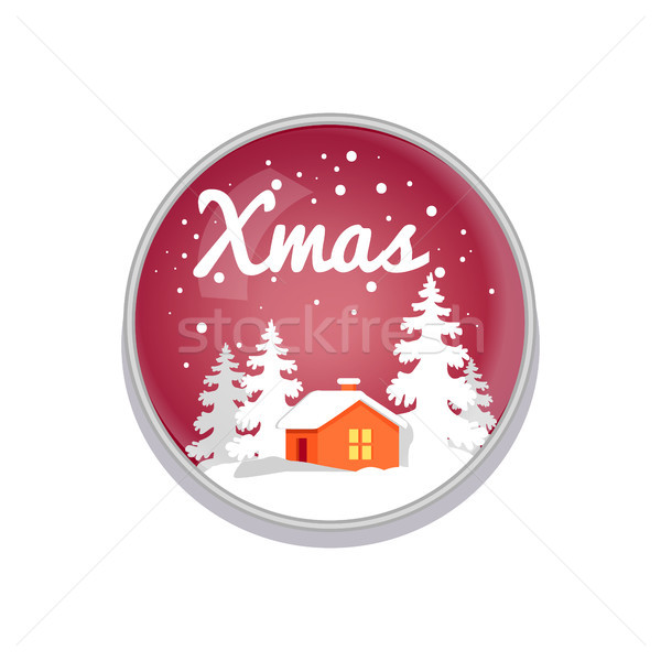 Xmas Push-button Depict on Red Vector Illustration Stock photo © robuart