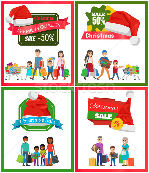 Four Christmas Sale Posters Vector Illustration Stock photo © robuart