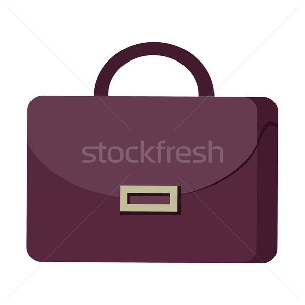 Purple Suitcase with Handle and Clasp Flat Design Stock photo © robuart