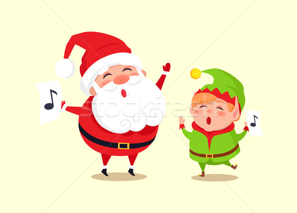 Santa Elf Cartoon Characters Singing Carol Songs Stock photo © robuart