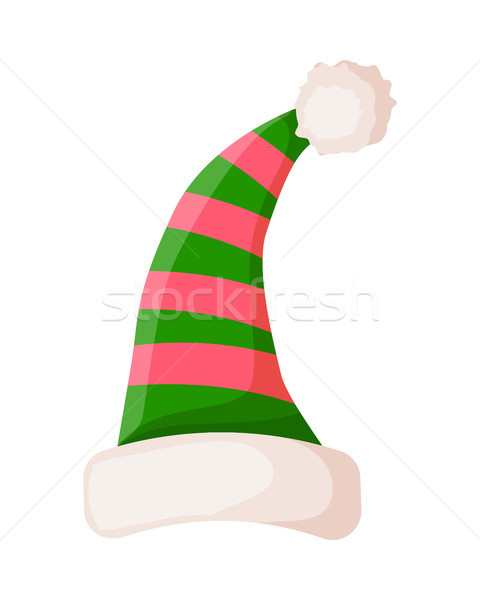 Elf Striped Hat with White Trim Isolated. Vector Stock photo © robuart
