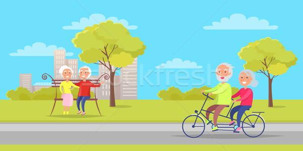 Avó avô sentar-se banco bicicleta juntos Foto stock © robuart