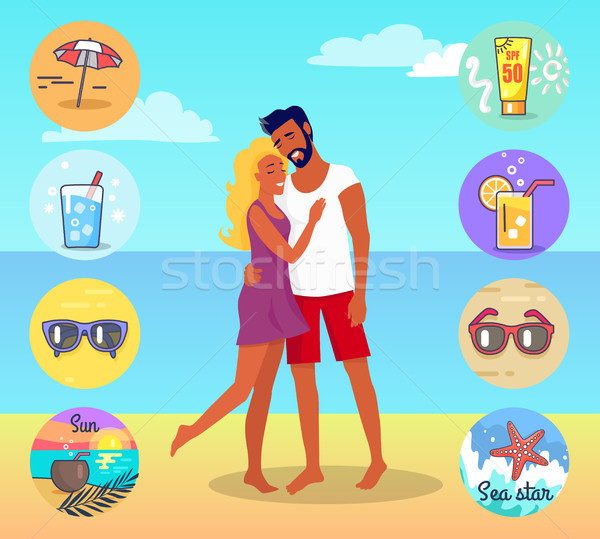 Couple on Beach with Summer Attributes around Stock photo © robuart