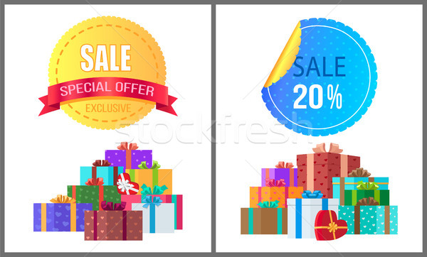 Special Exclusive Offer Sale Poster Piles of Gifts Stock photo © robuart