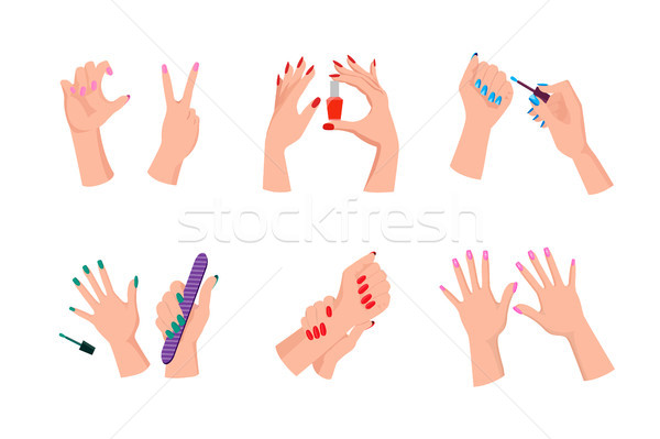 Female Hands with Neat Modern Bright Manicure Stock photo © robuart