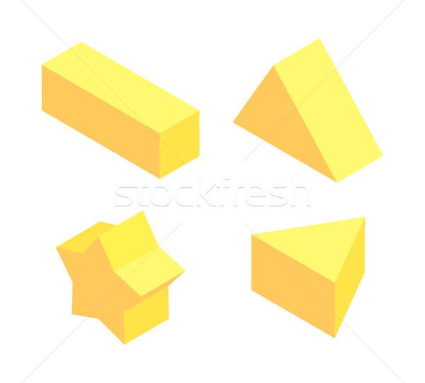 Yellow Figures Set, Colorful Vector Illustration Stock photo © robuart