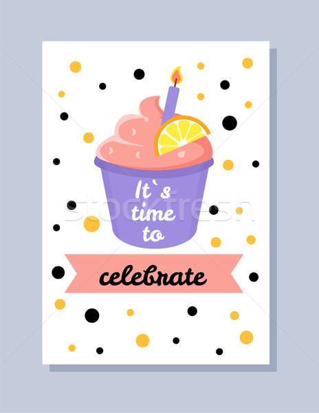 Zaman kutlamak kartpostal başlık şerit kek Stok fotoğraf © robuart