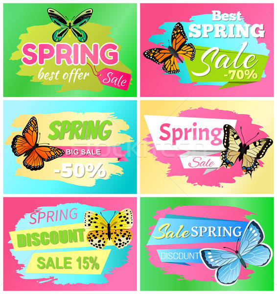 Best Spring Big Sale Banners Vector Illustration Stock photo © robuart