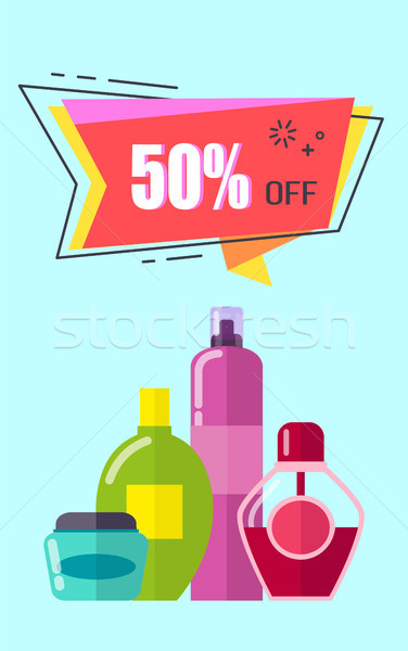 Off -50 Placard with Cosmetic Vector Illustration Stock photo © robuart