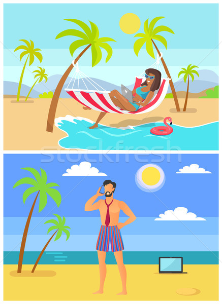 Suntanned Woman and Man in Trunk and Tie on Beach Stock photo © robuart