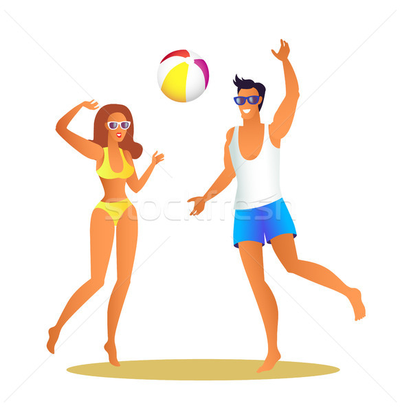Man and Woman in Swimwear Play Volleyball on Beach Stock photo © robuart