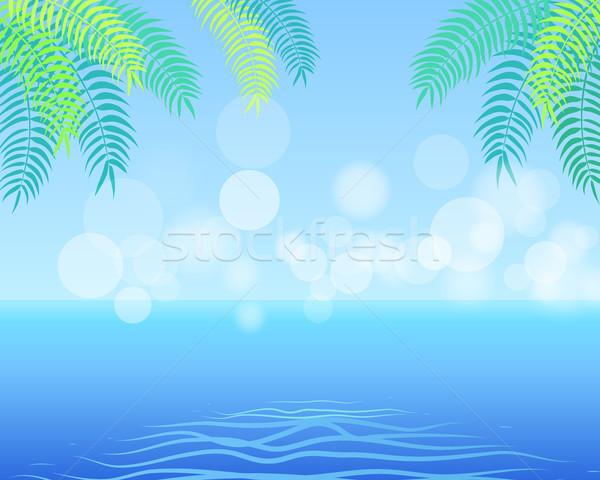Nyár pálmalevelek sarok higgadt tenger horizont Stock fotó © robuart
