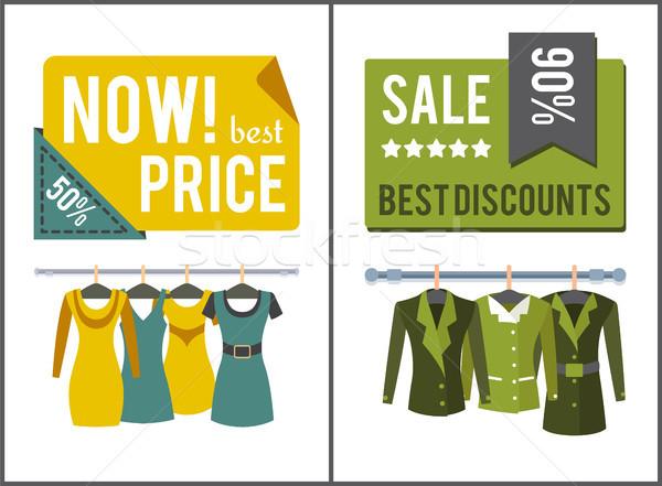 Vásár legjobb női ruházat szett plakátok Stock fotó © robuart