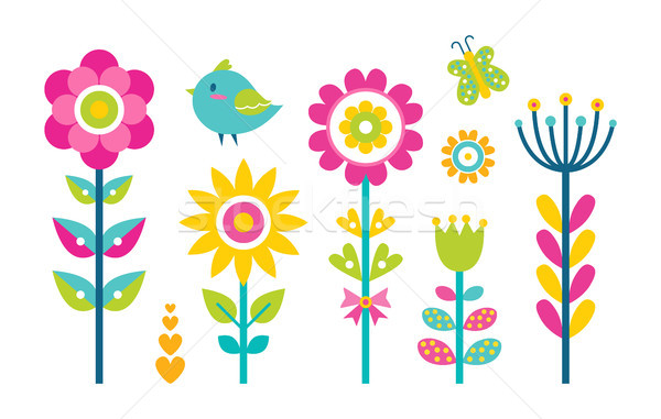 Flowers Collection Butterfly Vector Illustration Stock photo © robuart