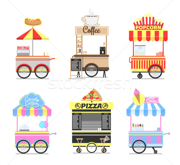 Delicious Street Fast Food Mobile Bright Carts Set Stock photo © robuart