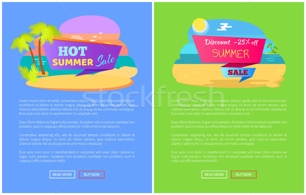 Hot Summer Sale Discount Off Set of Posters Online Stock photo © robuart