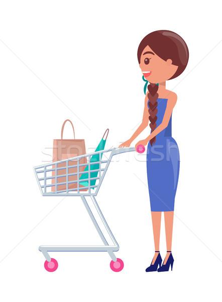 Mujer completo cesta de la compra vista lateral realizado nina Foto stock © robuart