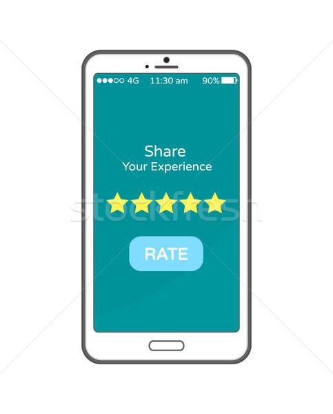 Esperienza tasso pulsante cellulare schermo smartphone Foto d'archivio © robuart