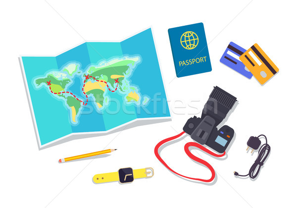 World Map and Credit Cards Set Vector Illustration Stock photo © robuart