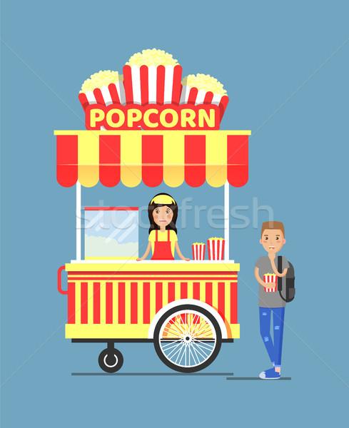 Popcorn Stall and Customer Vector Illustration Stock photo © robuart