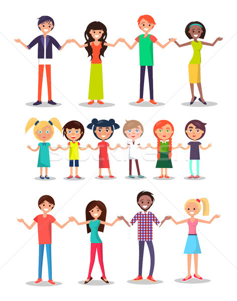 Kids and Parents Cartoon Characters Happy People Stock photo © robuart